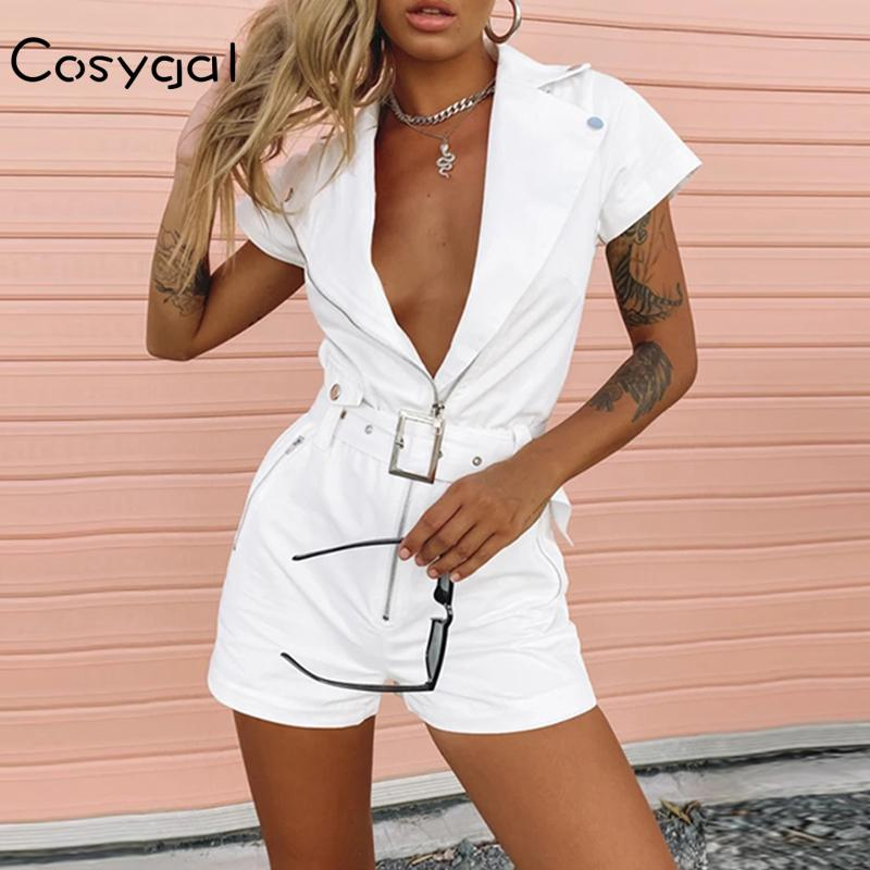 COSYGAL Sexy White Rompers Womens Jumpsuit V-Neck Club Party Summer Playsuit Bandage Bodycon Short Jumpsuit Women Overalls 2020