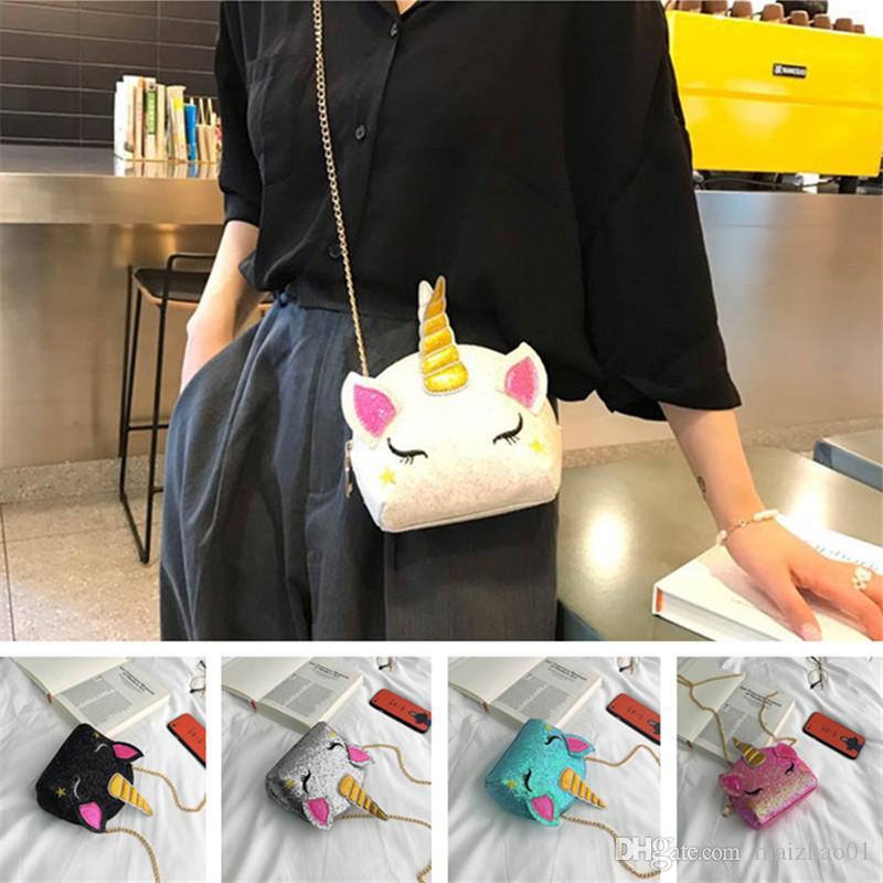 Блеск Единорог цепи сумки дети мультфильм кроссбоди сумка детские девушки поясная сумка поясные сумки симпатичные INS портмоне кошелек мода мешок DHL