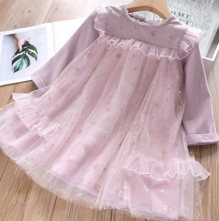 Süße Mädchen Spitzenkleider Herbst Kinder Pailletten falbala Spitze Tüll Kleid Kinder Spitzenkragen Langarm Kleid