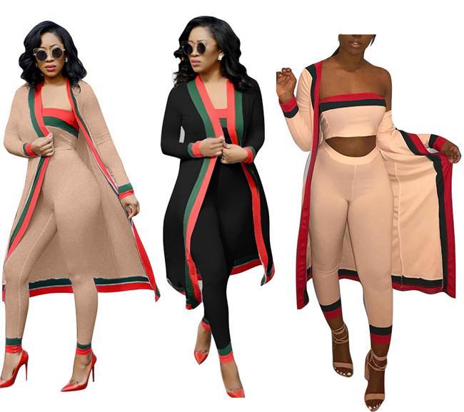 2018 neue Ankunfts-schwarze gestreifte 3 bessert Satz-Freizeit-Outfits langen Mantel Strapless Overalls Bodysuit Frauen Kleidung Sets Kostüme plus Größe wo
