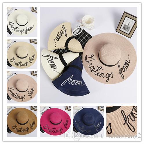 نساء لربيع وصيف القش طوي قبعة واسعة القبعات شاطئ حافة القبعات سيدة مع الترتر مطرز قبعة الشمس سفينة حر
