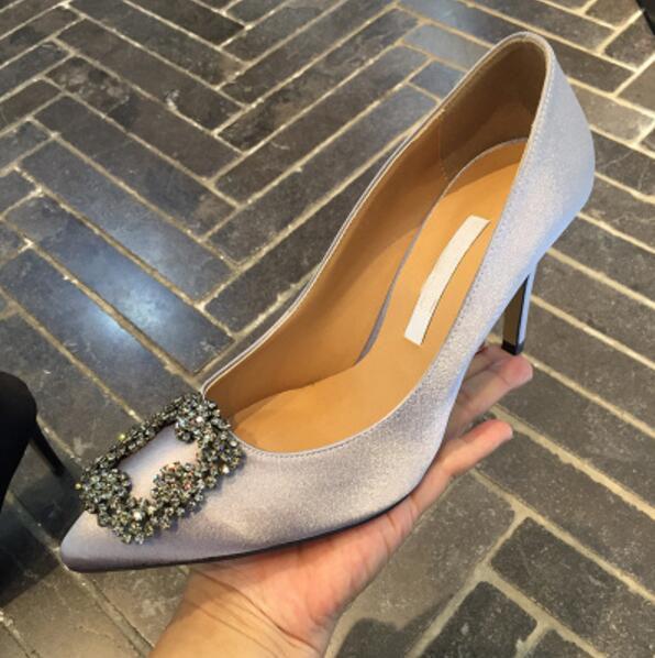 Yapay elmas moda bayan düğün ayakkabıları ince topuk 6cm 8 ile 10 cm boy 35-42 Sıcak Satış-ps topuklu ayakkabı kutusu dahil
