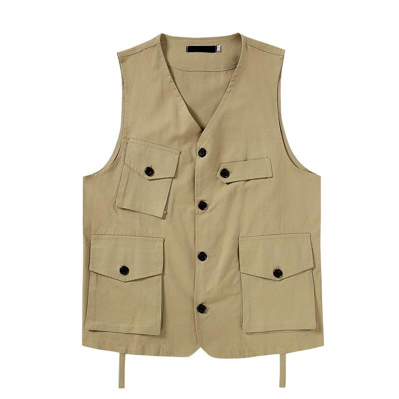 Новый внешний износ весна оснастка мульти-карман для мужской жилет тонкий жилет повседневный рукавов формальный деловой пиджак