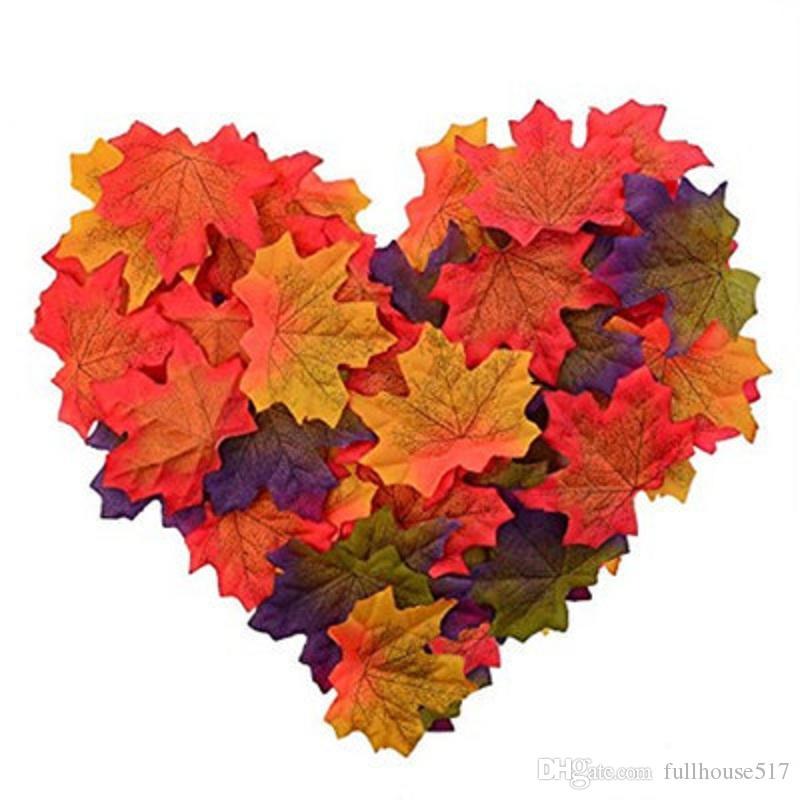 Artificial Maple Leaves Simulação de bordo decorativas queda deixa o Falso Deixa para a festa de casamento Início de Halloween Events Decoração flores decorativas