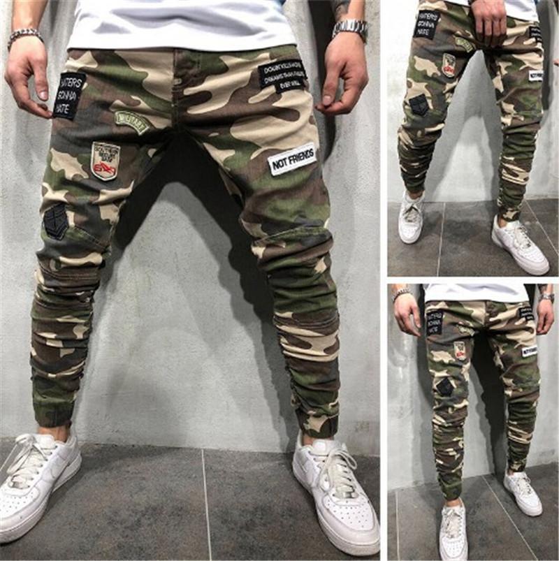 Kamuflaj Erkek Uzun Kot Yamalar Sıska Erkek Kalem Pantolon Moda Yeşil Ordu Erkek Stretch Pantolon Soğuk