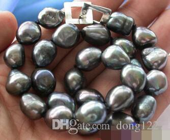 """Envío Gratis joyas de piedras preciosas brillo 17 """"barroco TAHITIAN negro collar de perlas"""