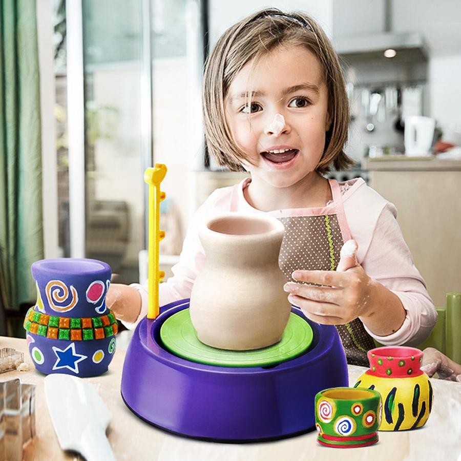 Mini DIY handmake Seramik Çömlekçilik Makinası Çocuk Craft Oyuncak For Boys Kız Çömlekçilik Tekerlekler Sanat ve El Sanatları Çocuk Oyuncak İyi Hediye Yeni T200401