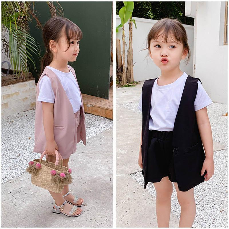 kids clothes girls suits kids summer clothes girls outfits Fashion kids sets 3pcs waistcoat+t shirts+shorts children clothing A5651