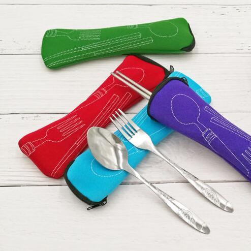 Di alta qualità eco-friendly pranzo all'aperto portatile in acciaio inox bacchette cucchiaio forchetta da tavola viaggio posate set sacchetto cuscino pacchetto