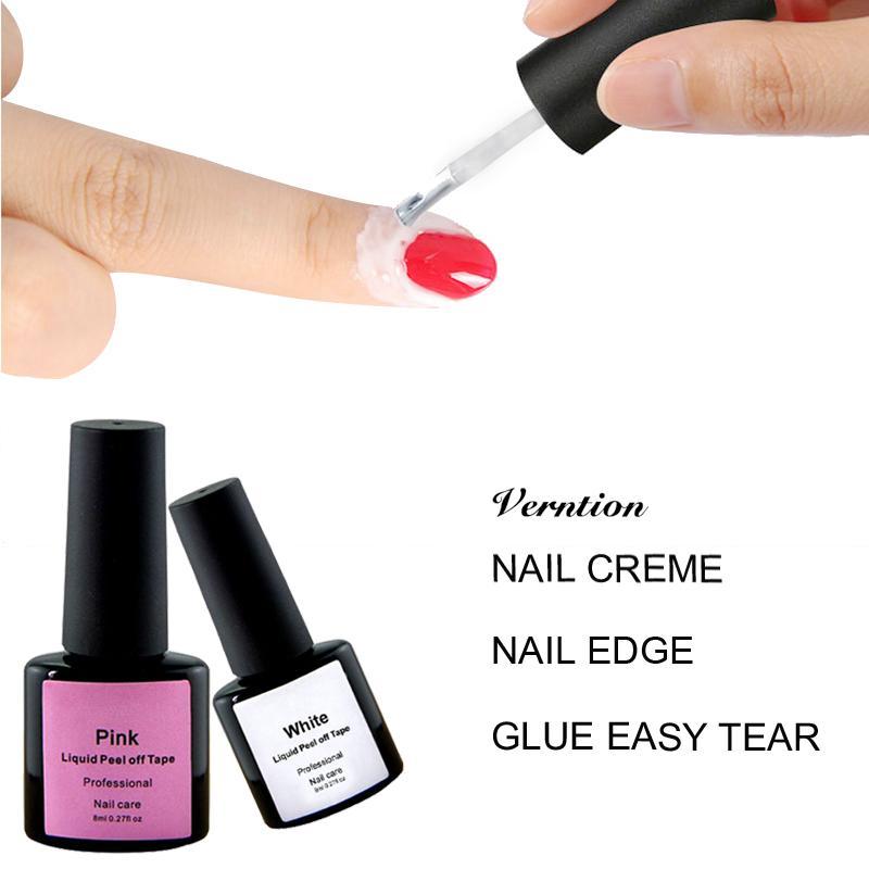 Verntion Flüssiges Häutchen entfernen Rand Latex 8ML Peel Off Pink Weiß Schutz-Gel Defender Nagellack Hautpflege Reinigen Maniküre