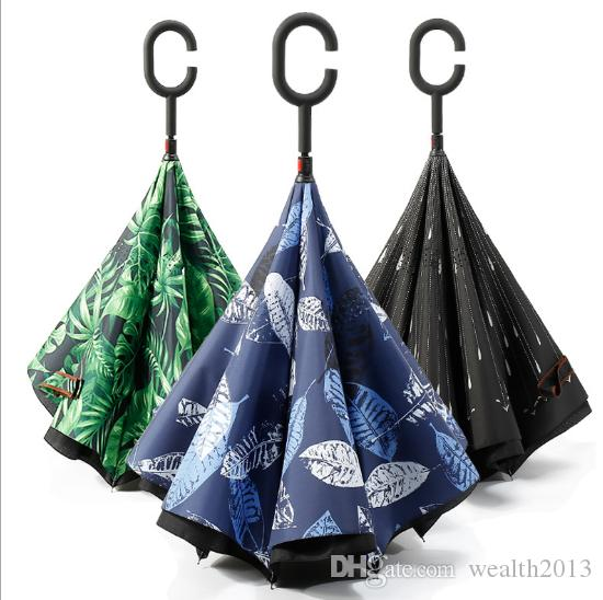 거꾸로 자동차 우산 Windproof Double Layer Reverse C and J 핸들 창조적 인 거꾸로
