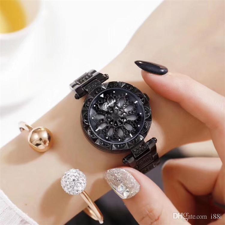 2019 donne vigilanza di modo signora vigilanza con Rolling Dial diamanti di lusso in oro rosa Good Luck di vigilanza del braccialetto d'acciaio di lusso di alta qualità