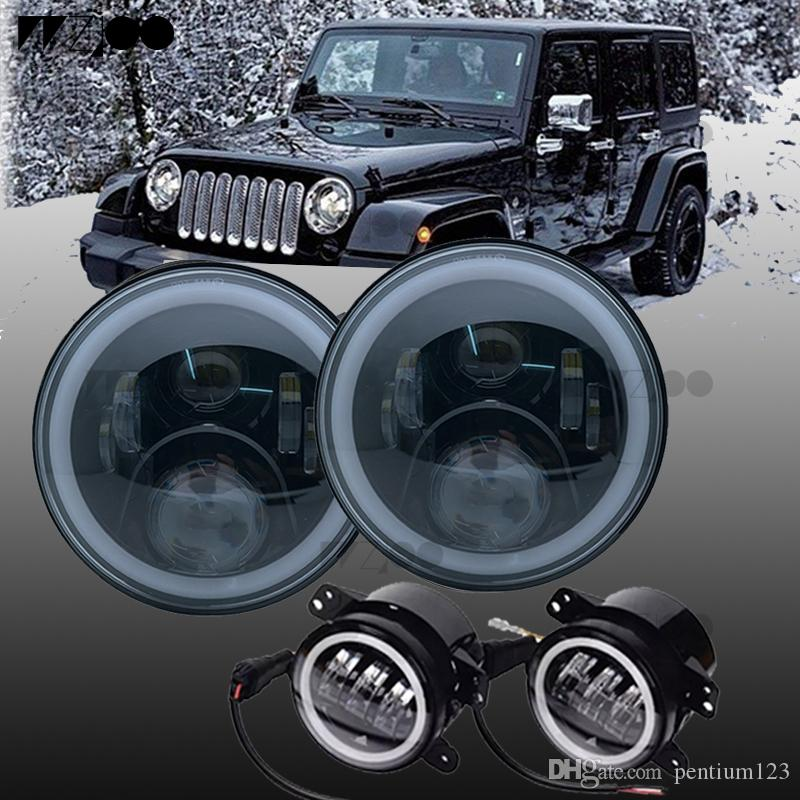 7 pulgadas LED faro bombilla ángulo ojo DRL coche Led luz de conducción 12 v para Jeep Wrangler Land Rover Defender 4x4 todoterreno