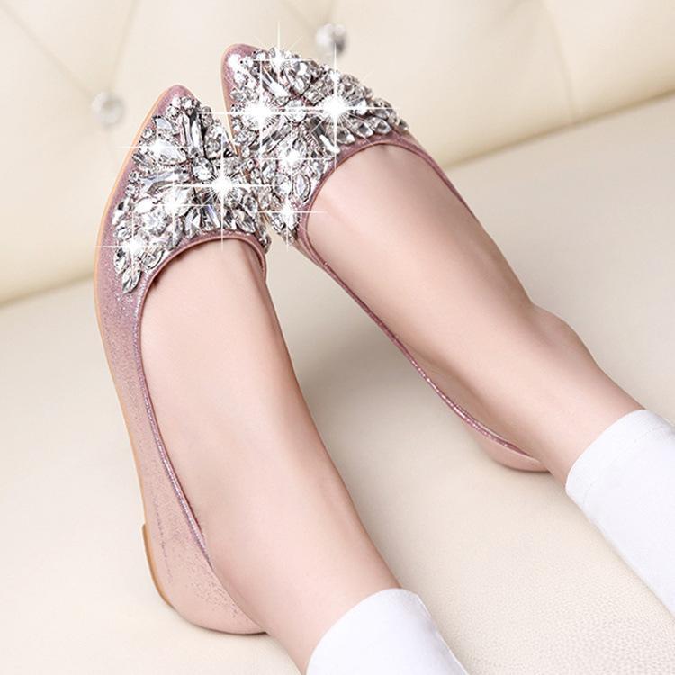 Sapatos bicudos Toe Ladise das mulheres Casual Rhinestone Low Heel Flat Shoes Verão senhora Plataforma Mulheres senhora vestido 2019