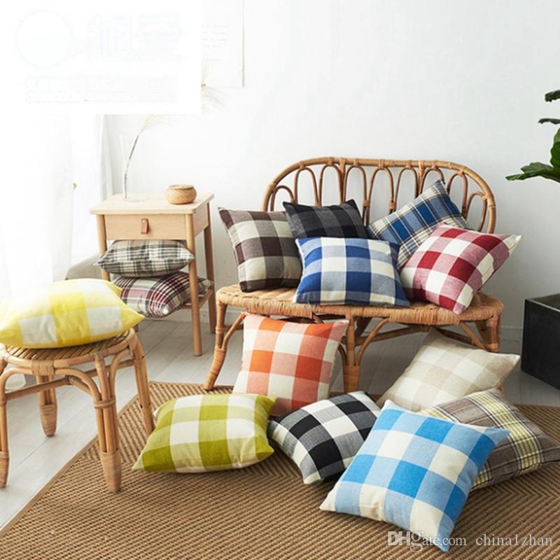 Taies d'oreiller à carreaux Throw taie d'oreiller Linge décoratif Coussin Taie Canapé Couch Couverture Literie Fournitures 14 Designs En option DW4525