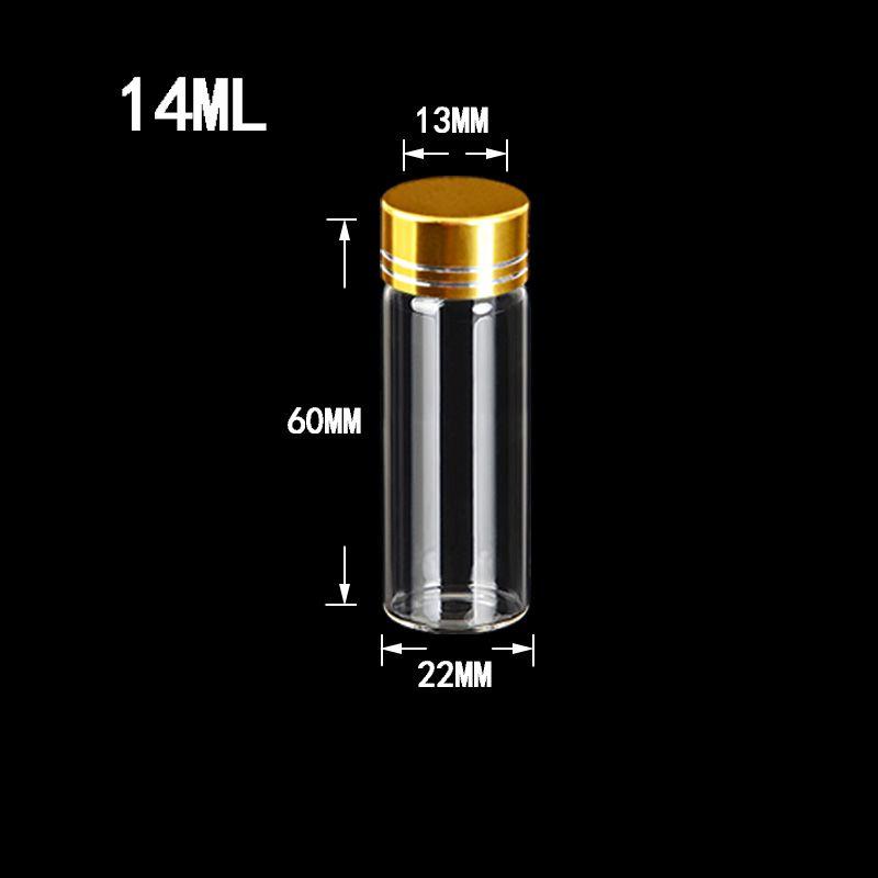 Garrafas 14ml Mini Alumínio Screw Cap de Ouro Transparente Limpar Líquido presente Container garrafa Wishing 100pcs casamento Jars
