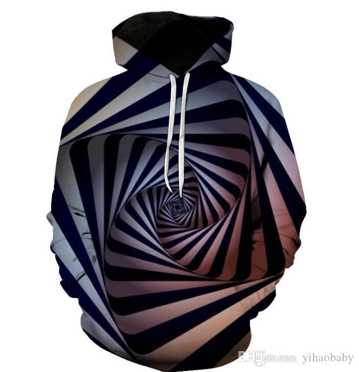 Sudadera con estampado de vórtice abstracto tridimensional para sombreros de amantes y ropa sanitaria