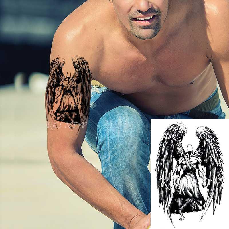 Водонепроницаемый Временные татуировки наклейки Большие крылья Black Angel Warrior Поддельный Tatto вспышка Tatoo Arm ног Body Art для женщин мужчин