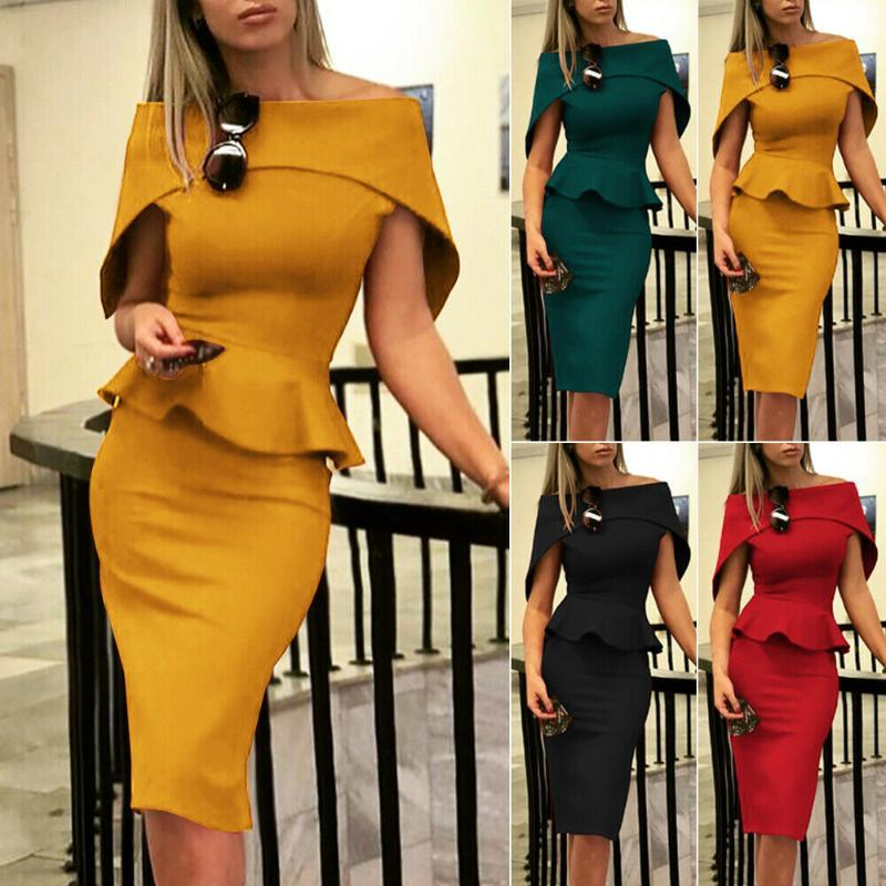 Summer Dress 2019 Fashion Women Off Shoulder Short Sleeve Bodycon Evening Party Dress Plus Size Vestidos Robe Femme