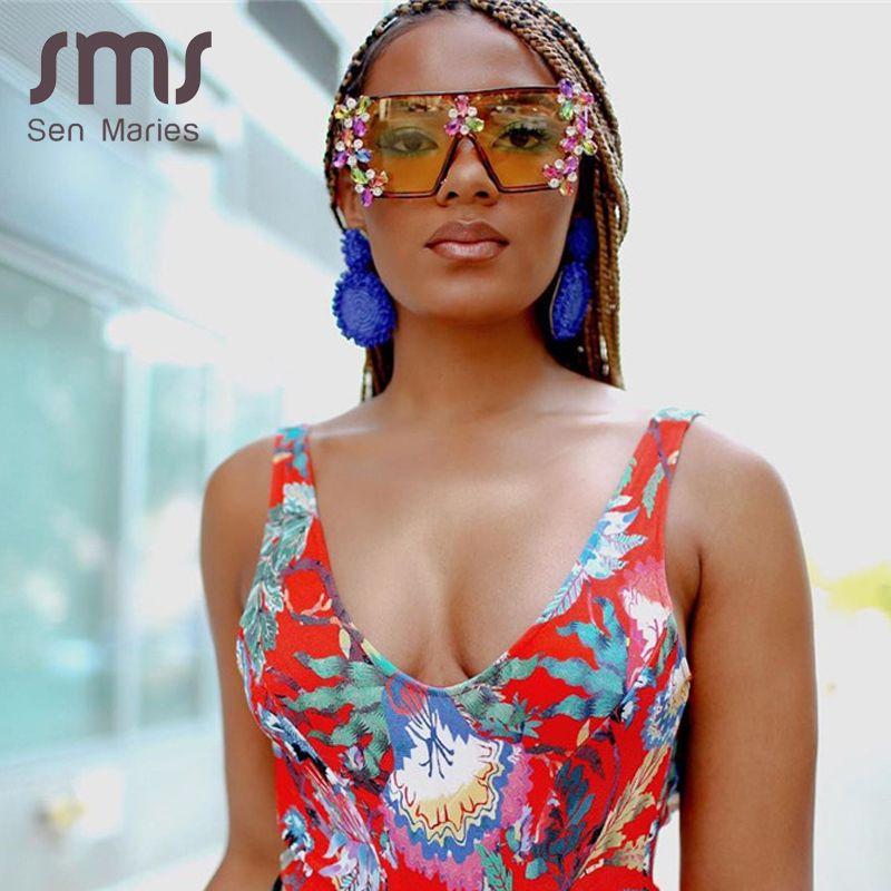 Frauen-Diamant-Sonnenbrille Übergroße bunte Luxusmode-One Piece-Platz Sonnenbrillen Gradient Weinlese-Punk Gläser UV400 Gafas CH01