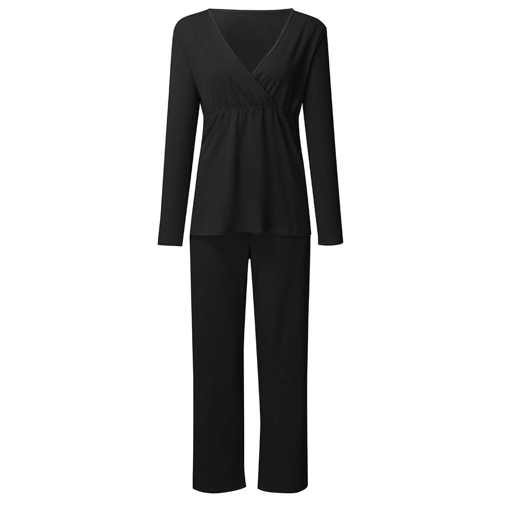 Incinta Infermieristica donne maternità vestiti di autunno casual in cotone T-Shirt Top + Long Pants casa porter dames L'allattamento al seno Sleepwear