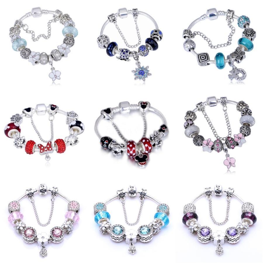 Großhandels-Feder-Anhänger-Charme-925-Legierung Schmuck mit Cz Micro Gepflasterte Charm für Frauen Fit Pandora Armband-Halskette Diy Lw614 # 870