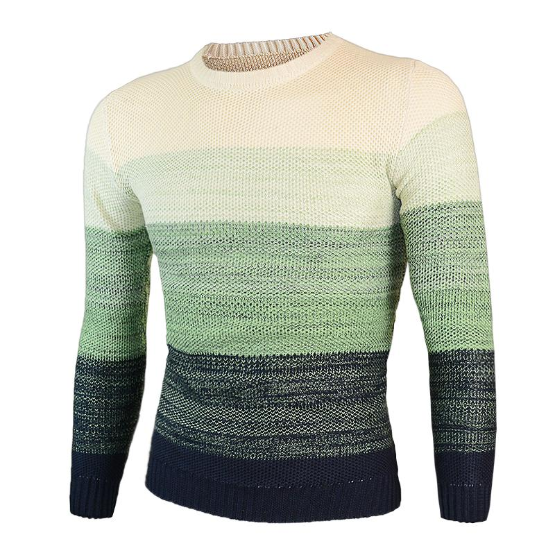 2018 autumn and winter new gradient color pullover sweater men's college style round neck Slim long-sleeved sweater
