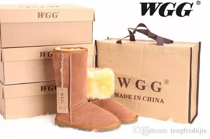 Freies Verschiffen 2019 Hot WGG Schneeschuhe Australien klassischen hohen Stiefel der Frauen beliebte Kastanienschneestiefel aus echtem Leder Damen Stiefel Stiefel