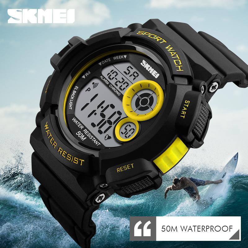 Homens Sports Relógios SKEMI 1222 Casual Relógios de pulso Digital LED 50M impermeável Estudante Outdoor Relógio Skmei Marca