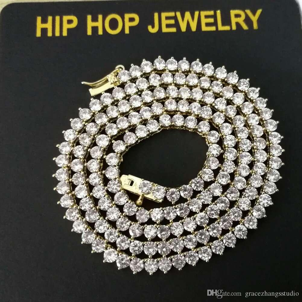 hip hop diamonds tennis chain necklaces for men women luxury cuban chains bracelet 18k gold plated 18inches 3mm gold silver jewelry gift