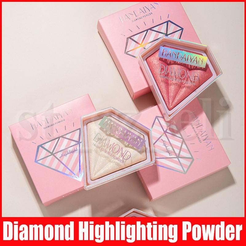 Handaiyan Face Diamond Crystal Highlighting Pressed Powder Compact Brightening Powder Shimmer Complexion Bronzers Highlighters 5 Color
