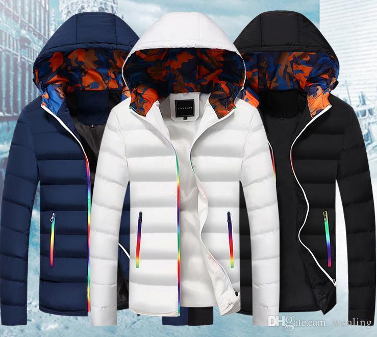 Ince Bombacı Ceket Erkekler Sonbahar Kalınlaşmak Erkek Ceket Sıcak Giyim Rüzgar Geçirmez Kapüşonlu Palto Fermuar Parkas Ceketler Adam Hoody Erkek