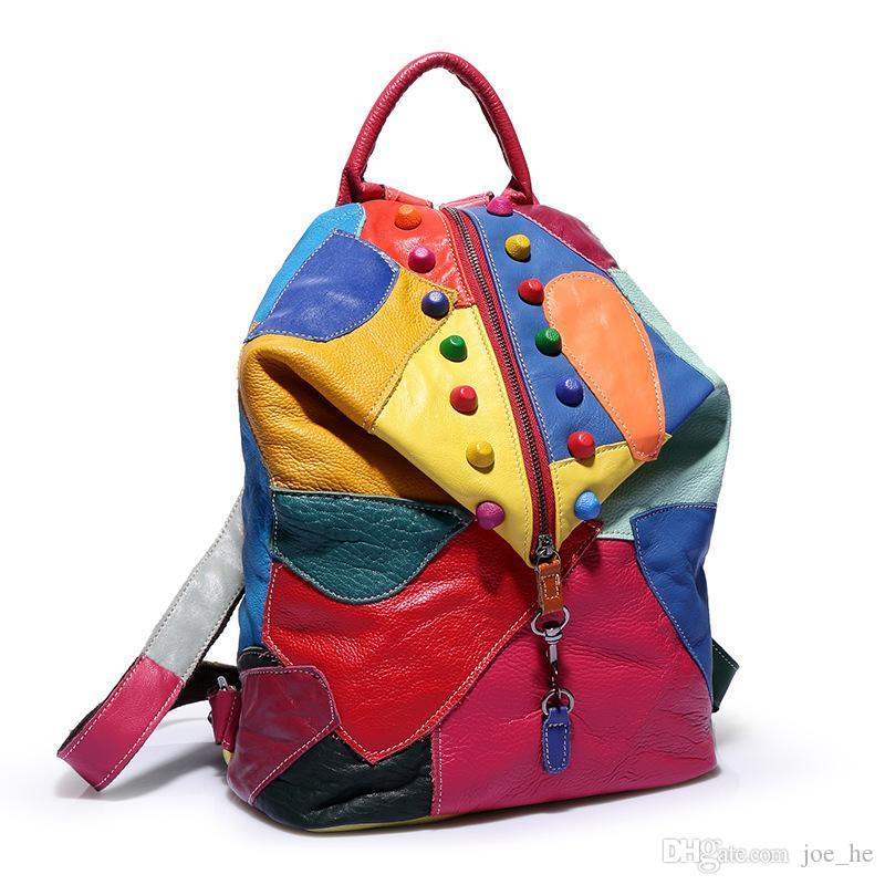 Rivet Travel Top Designer Colorful Designer-Fashion Packs Packs Mochila Mujer Patchwork Bolsa Bolsas Escuela Deportes Hombro Hombro Cuero Calidad Outdoor CSEV