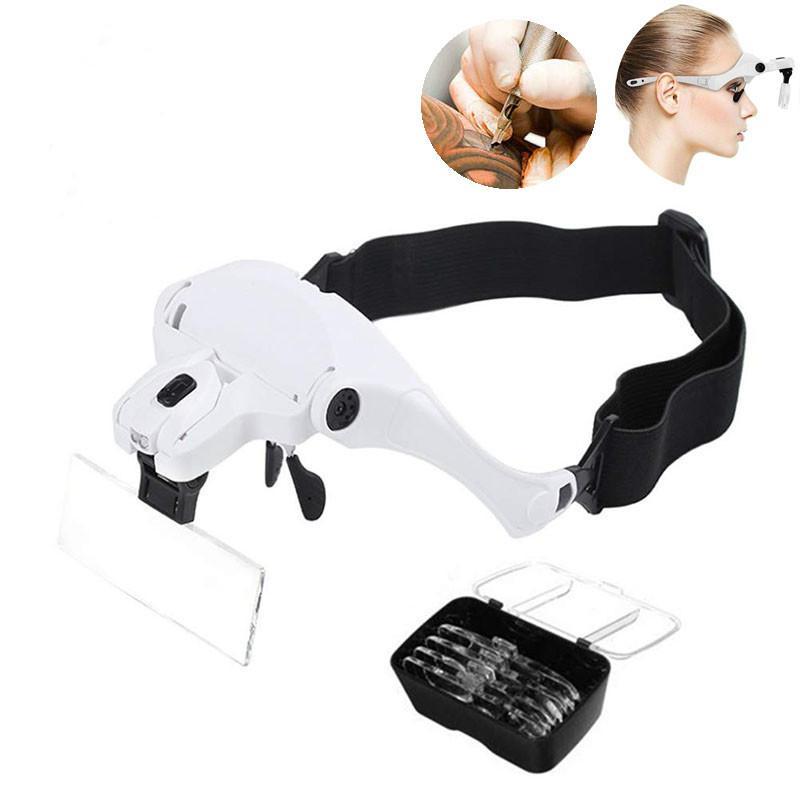 Head-Mounted увеличительное стекло, прививка Ресницы Лупа стекло, прививка Ресницы Лупа с LED Lights лампы татуировки 5 Lens