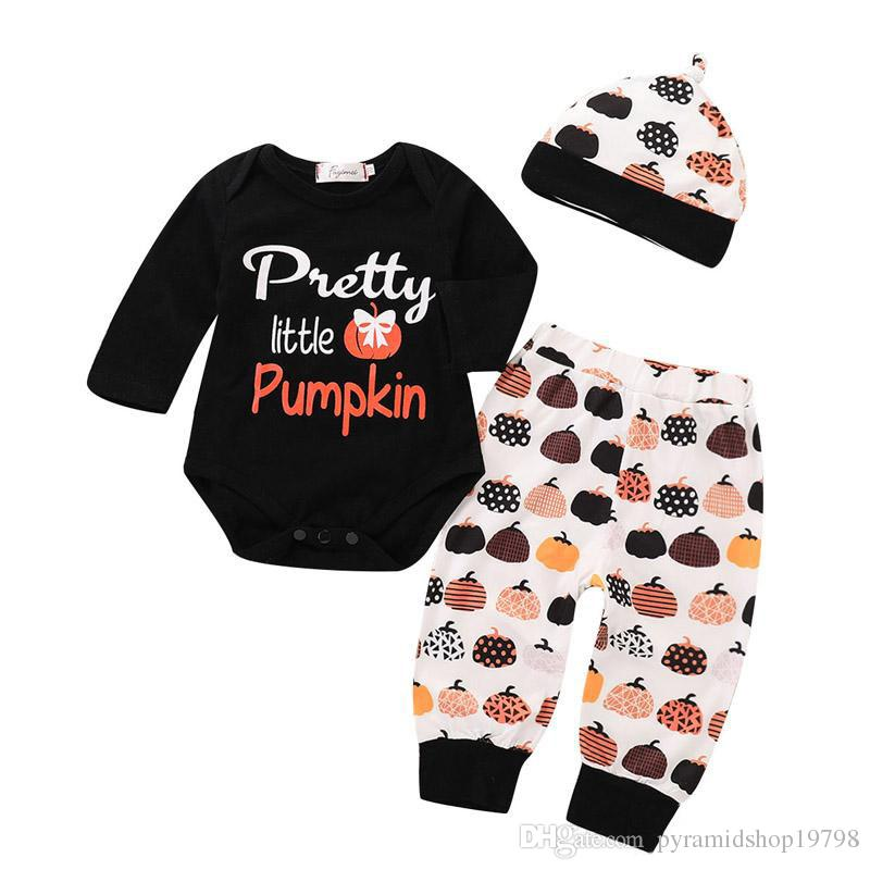 Girls Halloween Vêtements Ensembles Cartoon Pumpkin Lettre Bow Jumpsuit imprimé Kid Designer Vêtements Girls Pantalon imprimé Chapeau 3pcs Playssuit 0-3t