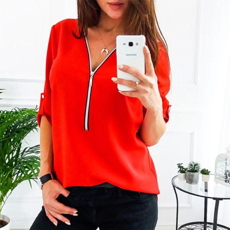 2020 Sommer V-Ausschnitt Hemd-Bluse Elegante Plus Size Tops Zipper Roll Up mit langen Ärmeln Sweatshirt Loose Women Street Wear