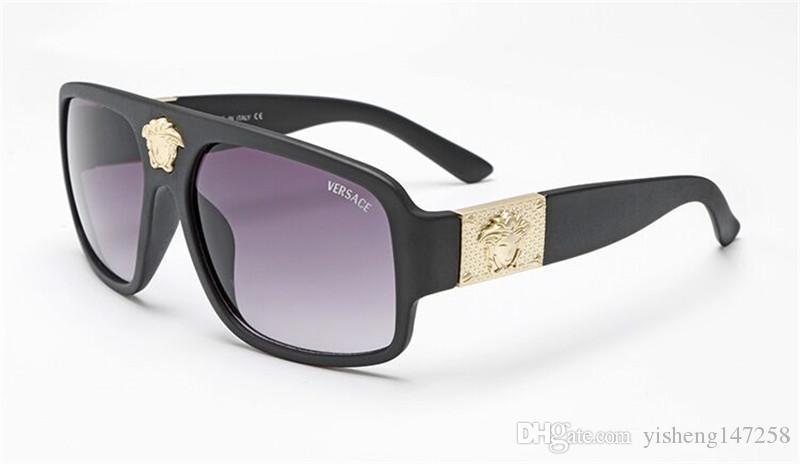 1pcs occhiali da sole di alta qualità in stile classico pilota di marca del progettista delle donne degli uomini di vetro di Sun di Eyewear del metallo dell'oro verde 59 millimetri 62mm lenti in vetro cassa marrone