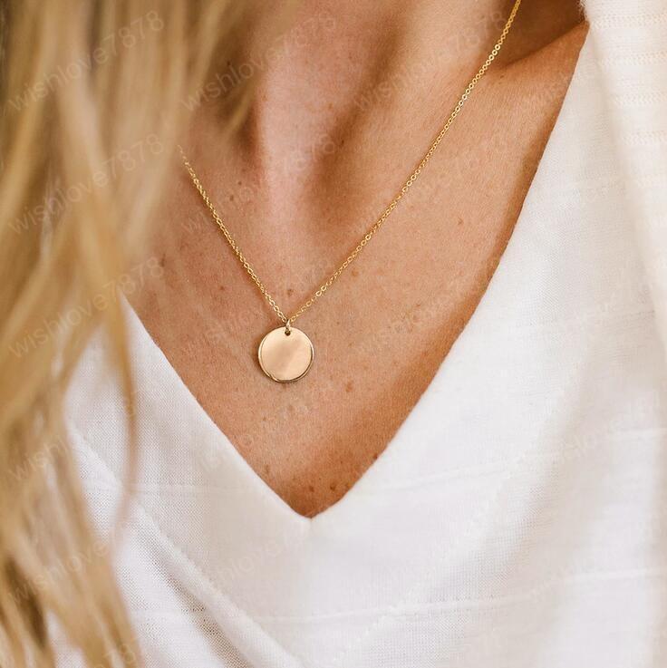 Yaratıcı Retro kolye Sadelik Disk Charm kolye kolye Altın Gümüş Kaplama Chian gerdanlık Bildirimi Kolye için Kadınlar Lady Hediye