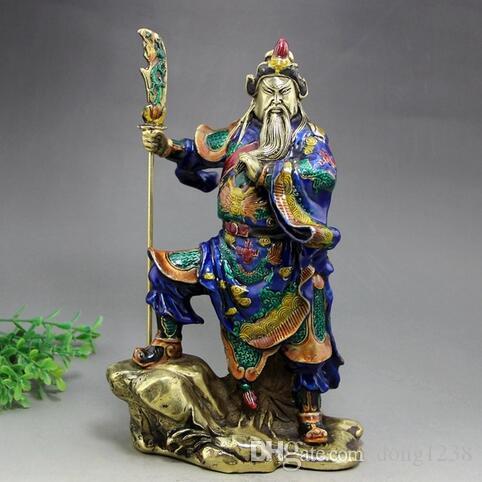 Emaye işi emaye Bakır el sanatları Archaize eski Buda süs yapmak GuanYu Buda guan gong heykeli şekil Guan yu Antika heykelcik