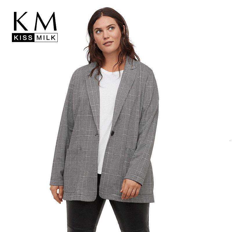 Kissmilk Office Professional uniforme estilo simples cor sólida Temperamento Retro Plaid Large Size Slim lapelas One Button Blazer V191129