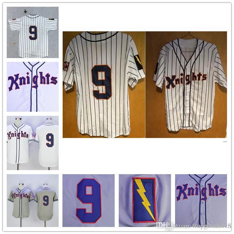 # 9 Roy Hobbs New York Cavaleiros O Filme Natural Redford Baseball Jersey Cinza Branco Riscas Camisolas De Beisebol