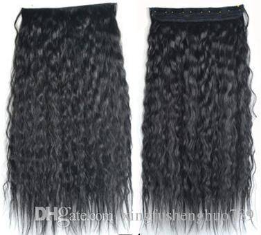 """099 Synthetic Ponytail Long Straight Hair 16""""/22"""" Clip Ponytail Hair Extension Blonde Brown Ombre Hair Tail With Drawstring"""