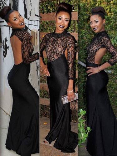 Las mujeres atractivas del vestido largo del vestido de noche de los vestidos sin espalda atractivo caliente del cordón del traje ahueca hacia fuera la camisa de dormir Los mejores vestidos de regalo