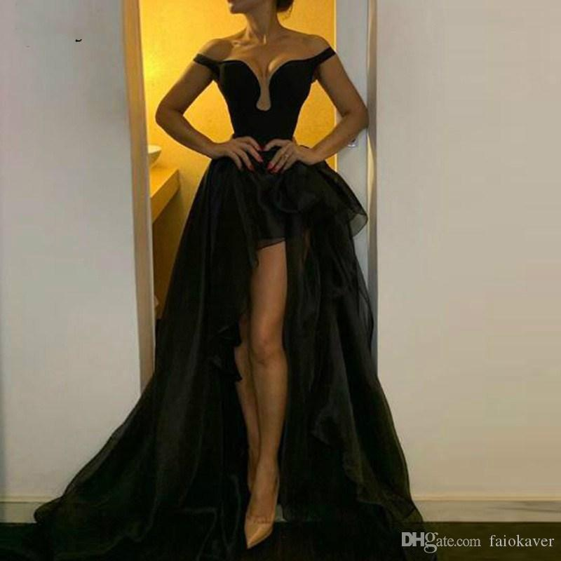 Sexy Black Detachable Skirt High Low Evening Dresses Off the Shoulder A Line Off The Shoulder Party Gowns For Women Tulle Prom Cocktail Wear