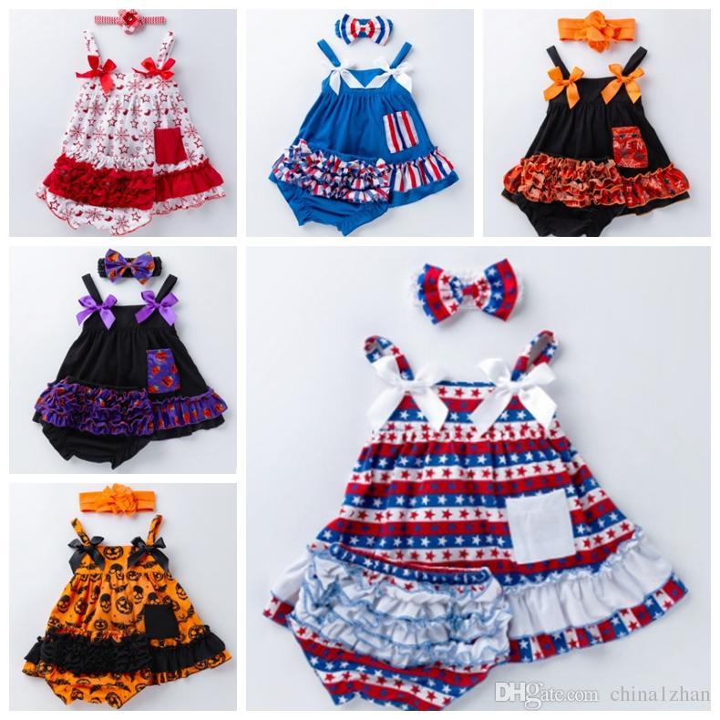 Roupa do bebê da menina Suspender Bebés Meninas Princess Dress Shorts alça 3pcs Set roupa da criança Define infantil Festival Costume 6 Designs DW3832