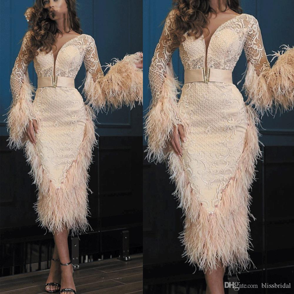 Champagne Feather Evening Dresses 2020 Lace Long Sleeve Deep V Neck Ankle Length Evening Gown Abendkleider Cocktail Dress