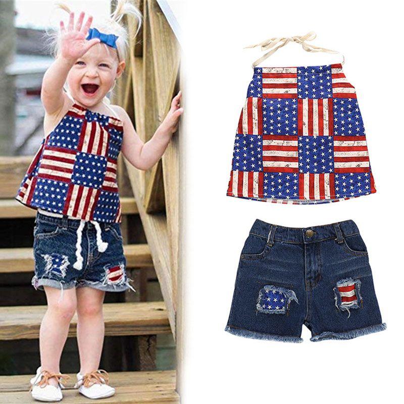 여자 정장 독립 기념일 드레스 반바지 미국 국기 별 인쇄 두 조각 의류 세트 아기 유아 여자 정장 여름 의상