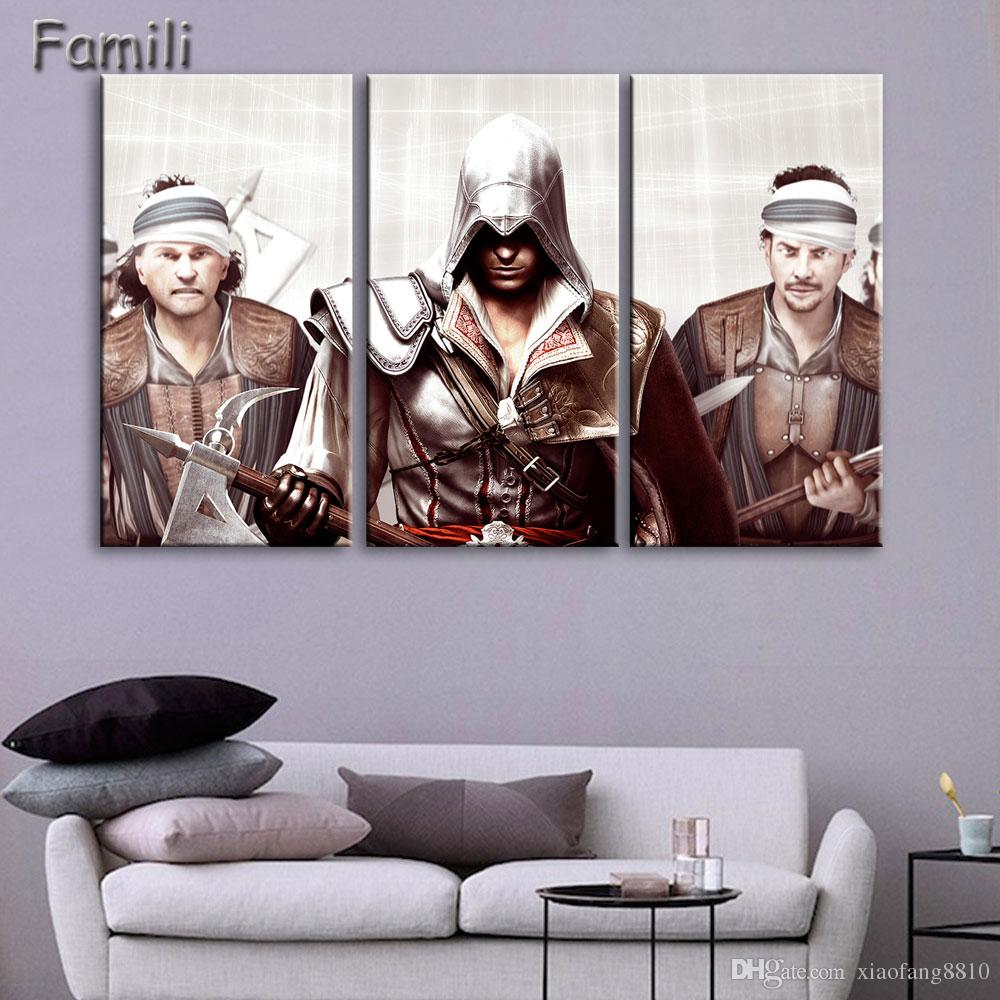 Modern Wall Art Painting Canvas HD Print 3 Panel Poster Assassins Creed Superstar Movie Modular Pictures Home Decor UNFrame