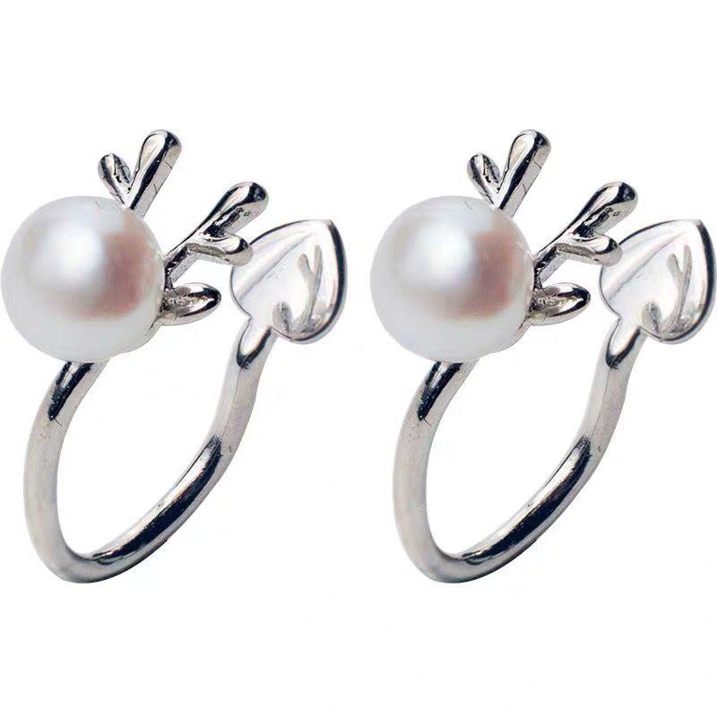 S925 dames en argent sterling oreille mode simple clip tempérament coréen boucles d'oreilles pas percé fauve perle bijoux cadeau 6-3096