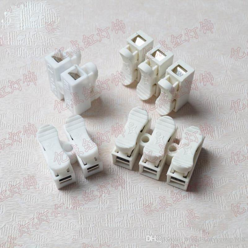 Quick Wiring Terminal Blocks Universal Crimping Wires Terminals 2 Positions 3 Positions Plastic Terminals with Metal Conductive Clips